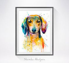 Dachshund 2 watercolor painting print, Dachshund art, animal illustration, animal watercolor, animal portrait, dog art, dog print  Buy two Get one FREE!