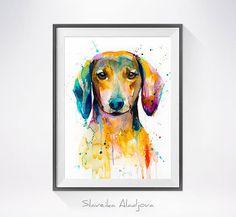 Acuarela de Dachshund 2 imprimir arte Dachshund animal por SlaviART