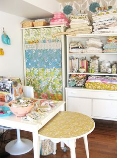 Craft room inspiration - small table on casters under cutting table Sewing Spaces, My Sewing Room, Sewing Rooms, Craft Room Storage, Room Organization, Craft Rooms, Storage Ideas, Space Crafts, Home Crafts