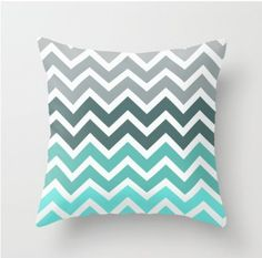 Grey and blue chevron pillow for the living room @Amanda Snelson Snelson Marini do you like these colors for our living room? grey couch.. blue accent pillows..