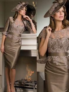 Sheath/Column Scoop Short Sleeves Applique Knee-length Taffeta Mother of the Bride Dress