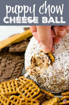 Puppy Chow Cheese Ball A Cheese Ball for Muddy Buddy Fans Puppy Chow Cheese Ball A Cheese Ball for Muddy Buddy Fans Take Two Tapas Easy Appetizers Tapas Party nbsp hellip Ball dessert Dessert Cheese Ball, Dessert Dips, Köstliche Desserts, Delicious Desserts, Dessert Recipes, Yummy Food, Snack Recipes, Tapas Recipes, Appetizer Recipes