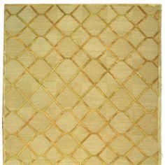 David Easton Paro Grid Citrine Gold Wool & Silk Rug SADVE473D