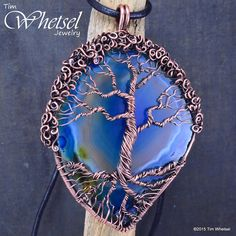 Copper Tree of Life Agate Pendant - Wire Wrap - Handmade - Thumbnail 1