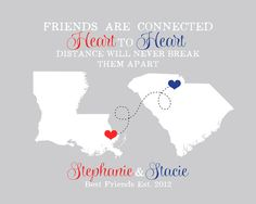 Gift for Best Friend Birthday - Long Distance Relationship Gift -  Art Maps Print, Best Friends Are Connected Heart to Heart - Custom