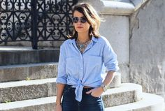 www.collagevintage.com  #fashion #style #collagevintage #fashionblogger #outfit #look #jeans #blue #shirt