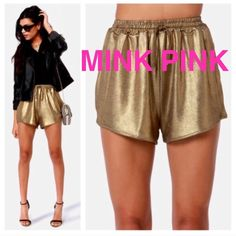 MINKPINK Gold Shorts New with tags! MINKPINK gold shorts. MINKPINK Dresses