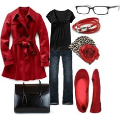 The red trench is fabulous. What a cheerful, happy outfit. How could you be in a bad mood wearing this? Passion For Fashion, Love Fashion, Fashion Outfits, Fashion Ideas, Red Flats Outfit, Work Wardrobe, Fall Winter Outfits, What To Wear, Style Me