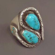 SIGNED Vintage #NativeAmerican Navajo #TurquoiseRING Snake Motif Solid Sterling Silver Victor Chavez, Size 9.5, 14.6 Grams, Gift for Him