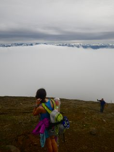 Rising above a cloud.