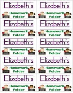 Name Labels for homework folders- 3 page file with 30 name labels.  Just type in your students' names to create your own labels for students' homew...  $1.00