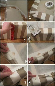 Upholstered box spring. What a great alternative to a bed skirt!