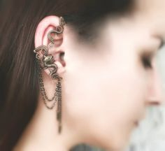 Dragon Cartilage Wrap  Bronze Ear Cuffs  Costume by MayaHandmade