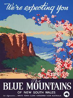 The Blue Mountains, Katoomba, New South Wales. Vintage Travel Poster by Joseph Booker Vintage Advertising Posters, Vintage Travel Posters, Vintage Advertisements, Vintage Ads, Retro Posters, Retro Ads, Sydney, Brisbane, Blue Mountains Australia