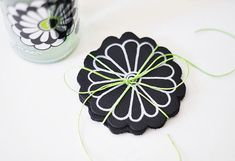 DIY Leather Flower Drink Coasters | Love Maegan (with flower template) Diy Leather Flowers, Diy Leather Projects, Cute French Bulldog, Silver Paint, Flower Template, Green Ribbon, Paint Pens, Drink Coasters, Hostess Gifts
