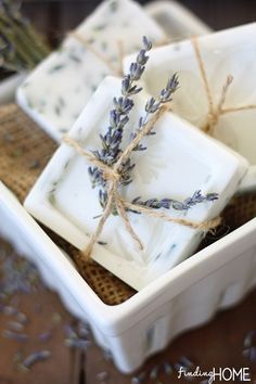 Lavendar and lemon verbena home made soap - DIY wedding favors