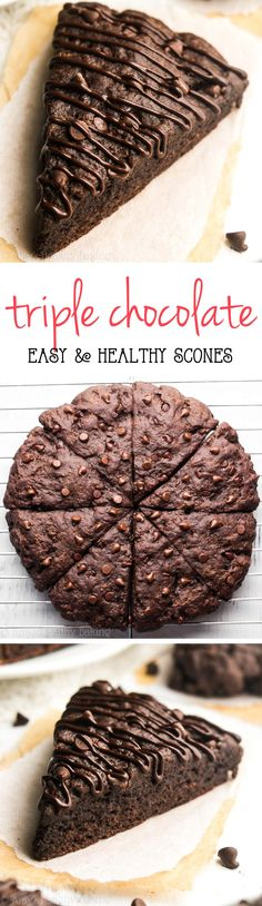 Healthy Triple Chocolate Scones -- almost like eating brownies for breakfast! So easy & packed with 5g of protein!