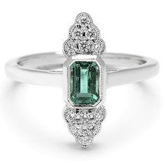 Beverley K Art Deco Emerald & Diamond Ring - BestProducts.com
