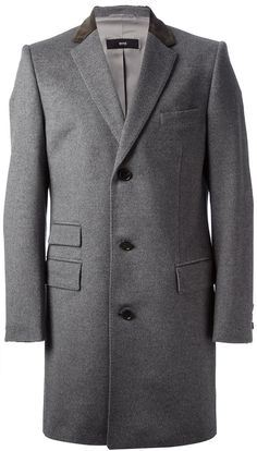$1,097, Grey Overcoat: Hugo Boss Boss Contrast Collar Overcoat. Sold by farfetch.com. Click for more info: https://lookastic.com/men/shop_items/6909/redirect