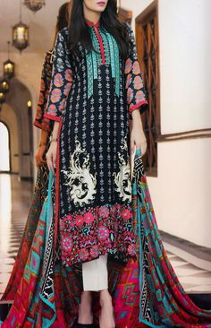 Buy Black Embroidered Linen Dress by Charizma 2015.