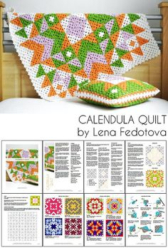 """Calendula Quilt, pattern by Lena Fedotova $7.50. 10 x 10 granny squares, about 30"""" square. Nine color layouts, or create your own with the blank square template. #crochet #afghan #blanket #throw #quilt_style #bicolor"""