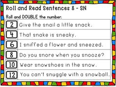 Practice Reading and Math at the same time! Roll and Read - Full Set of Sentences with blends and digraphs. Math skills: Doubles, Doubles -1, Doubles+1, Triple the number. Differentiated recording sheets for literacy centers included. The entire set is also in B&W (included) Whimsy Workshop Teaching ~ Literacy and Math Phonics Worksheets, Phonics Activities, Speech Therapy Activities, Phonemic Awareness Activities, Phonological Awareness, Word Study, Word Work, Daily 5 Math, Articulation Therapy