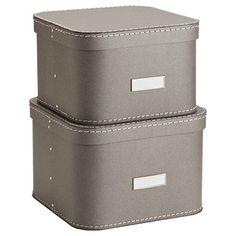 Unique and functional for a closet, office or craft room, our Oskar Boxes will look great anywhere you use them! The set of two can be used on a shelf or stacked for spacesaving efficiency. Exceptionally durable, each is reinforced with rivets and stitching.