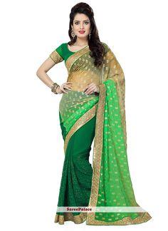Green And Shaded Green Half N Half Designer Saree