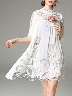 Half Sleeve Casual Plain Two Piece Mini Dress
