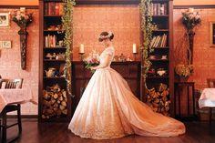ダスティピンクのカラードレス プリンセスライン