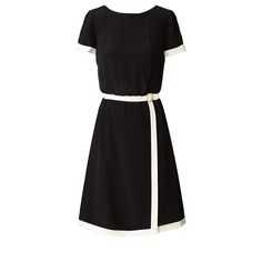 Orla Kiely: Short sleeved dress in silk crepe de chine fabric. This dress comes with contrasting cream bands on sleeve edge, waistband and around skirt edges. This dress has a fitted waistband and the bodice is looser so gently blousons at the waist. The skirt has a faux wrap over detail, with gold buckle feature at waist. Fully lined. Zip in centre back to fasten.    Length: 36.8in (center back)