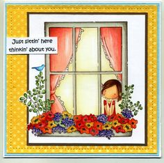 Featuring Stamping Bella's Uptown Girl Winnie SKU 490670.  Available at www.addictedtorubberstamps.com. Card created by Colorin' Kate at Splitcoaststampers.