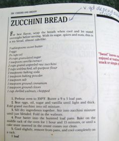 Silver Palate's zucchini bread recipe (Margaret's go-to recipe). Seriously good.
