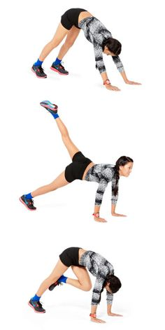 A. Get in a down-dog position: Start on your hands and knees, then lift knees away from the floor and push butt up so you're in an upside down V. B. Look forward and lift left leg up behind you, keeping it straight. C. Bend left knee in toward chest and curve spine to look at knee, squeezing butt and abs as you do. Return to B. Do for 30 seconds, then repeat on the other side for 1 minute total. This workout appeared in Seventeen magazine — check it out on newsstands now and you can also…