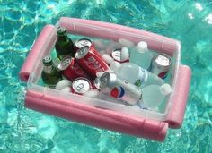 Using a dollar store floating pool noodle you can make a floating pool ice chest for your drinks.