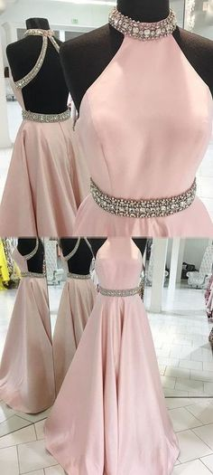 Newest Beading O-Neck A-Line Prom Dress,Long Prom Dresses,Cheap Prom Dresses,