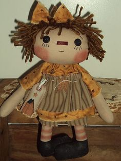 Primitive Raggedy Ann Saltbox Stars Annie   eBay