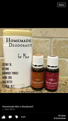 Homemade all natural deodorant for men with young living essential oils ( purification + cedarwood) Essential Oil For Men, Oils For Men, Yl Essential Oils, Young Living Essential Oils, Essential Oil Blends, Deodorant Recipes, Homemade Deodorant, Men's Deodorant, Young Living Deodorant