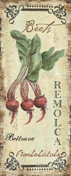 Vintage Vegetables 3 Painting  - Vintage Vegetables 3 Fine Art Print