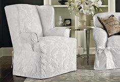 Sure Fit Slipcovers Matelasse Damask Wing Chair Slipcover   Wing Chairs