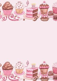 Pink Stationery with Cupcakes, Cakes, etc. Pocket Letter, Cake Clipart, Scrapbook Paper, Scrapbooking, Diy And Crafts, Paper Crafts, Cupcake Art, Cupcake Logo, Cupcake Drawing