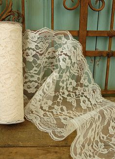Lace Ivory 9in wide x 10 yds -- use as a table runner over burlap squares & ivory tablecloth
