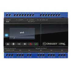 Details EM4 LOCAL: 16 ingangen waarvan: 4 highspeed counter 1x60kHz, 2x40kHz en 1x20kHz 12 analoog (8x 0-10V 10bit en 4x 0-10V 12bit) of (4x 0-20mA 11bit en 8x Potentiometer 12bit) 10 uitgangen waarvan: 2x Solid state (PMW) 10 bit en 8x Relais.   Algemeen     Artikelnummer 164160  Merk CROUZET  Type 88981103  GTIN 3593150047164  Documentatie 1 Download Datasheet em4 Local  Documentatie 2 Download Specificaties em4 Local  Link Software download website Cr...