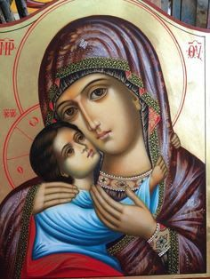 High quality hand-painted Orthodox icon of Virgin of Tenderness (Rila Monastery). BlessedMart offers Religious icons in old Byzantine, Greek, Russian and Catholic style. Religious Images, Religious Icons, Religious Art, Madonna, Church Icon, Paint Icon, Christian Artwork, Spiritus, Holy Mary
