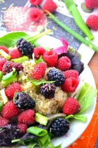 There's nothing quite like a bowl of quinoa and greens. And a few fresh raspberries n' blackberries, too. So pretty and so easy to make. Just a few ingredients from my garden and a quick trip to the market for fresh berries. And voila. A perfectly delicious gluten-free salad. Great for a summer