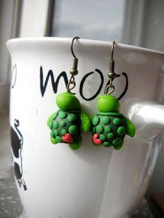 polymer clay earrings.turtles