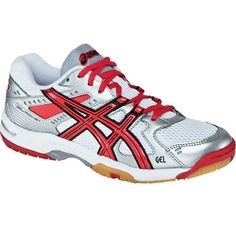 reputable site 0933e c3400 Asics Women s B257N Gel-Rocket 6 - White Red Silver Volleyball Shoes,