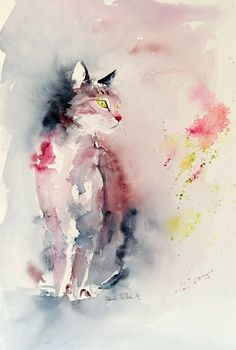 Original painting of a pink and grey by MartineSaintEllier on Etsy