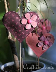 Valentine's or Mother's Day Craft - Puffy Paper Hearts Plant Sticks