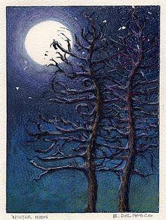 """Linocut: Winter Moon, and Daily Painter Nancy Eckels"" by Belinda Del Pesco"